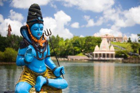 Photo for Shiva statue and Hindu temple at Grand Bassin lake, Mauritius - Royalty Free Image