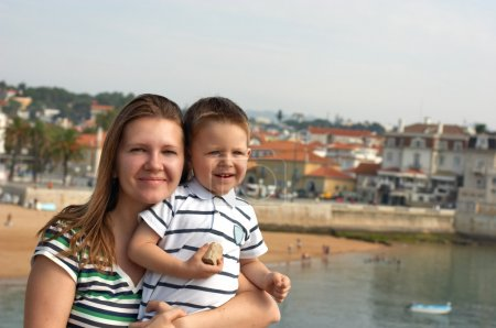 Happy mother and son at European destination