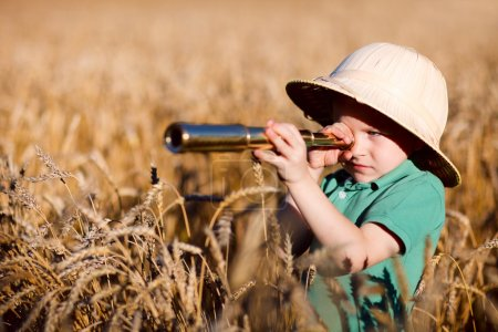 Photo for Portrait of young nature explorer in wheat field - Royalty Free Image