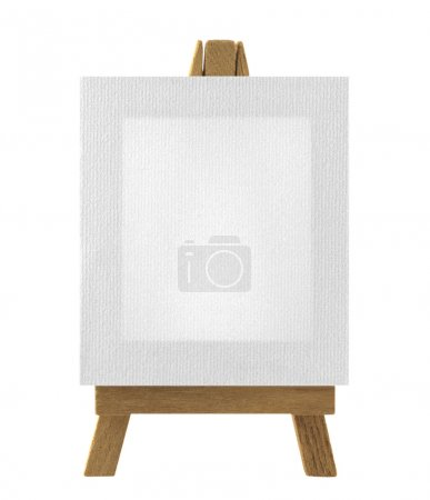 Photo for Easel with blank canvas isolated in white - Royalty Free Image