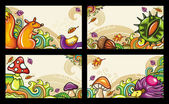 Vector set of decorative autumnal cards 2