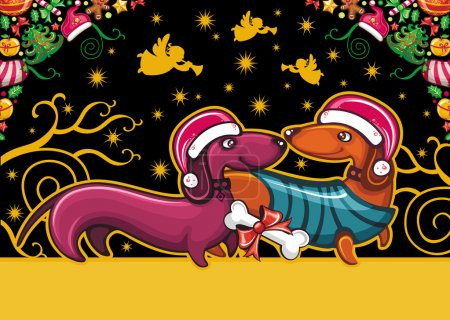 Colorful Christmas greeting card with cute Santa Dachshunds