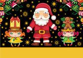 Christmas greeting card with Santa Claus and cute girls