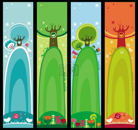 Colorful set of seasonal, natural banners, with space for your text
