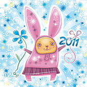 Vector card with cute little rabbit girl celebrating New Year