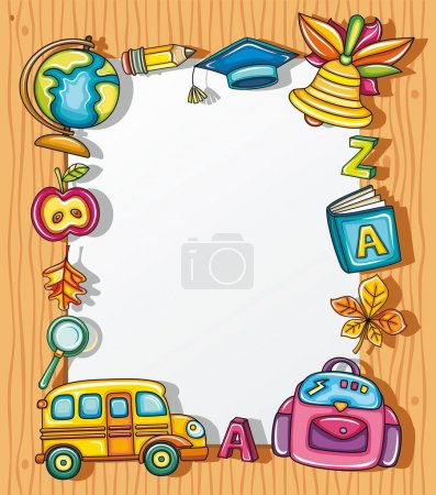 Photo for Cute grunge frame with colorful school icons, isolated on wooden background. - Royalty Free Image