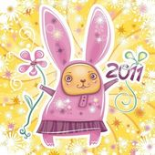 Happy New Year theme: Vector card with cute little rabbit girl celebrating New Year holding flower and 2011 sign Swirl background with snowflakes