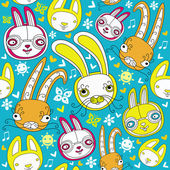 Cartoon doodle background with colorful bunnies