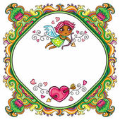 Valentine day funny floral framework with cute little cupid flying around floral pattern with space for your text