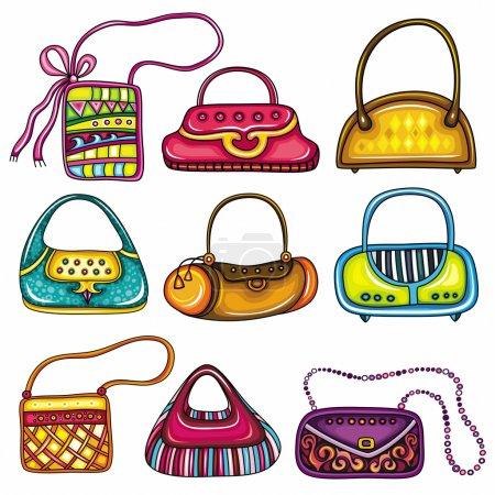 Illustration pour Ensemble de sacs à main colorés. Mignon différentes formes et impressions. Sacs fourre-tout, sacs à main, sac seau, hobos, embrayages, sacoche, sacs à bandoulière, sacs de poignée de chaîne . - image libre de droit