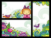 Set of beautifully arranged banners series 1 Flora and Fauna compositions featuring curly plants and colorful flowers cute girl bird waves apple