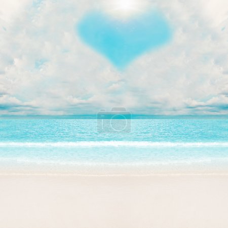 Photo for Love clouds over tropical beach. Summer vacations - Royalty Free Image
