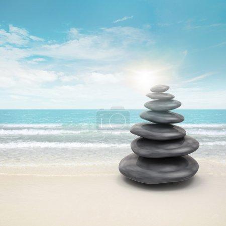 Photo pour Pierres sur la plage. 3d et montage photo - image libre de droit