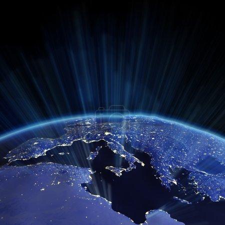 Photo pour Soulagement de l'Europe de l'espace. carte de la terre de la nasa - image libre de droit