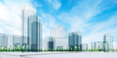 Photo for City under sky. Transparent 3d render - Royalty Free Image