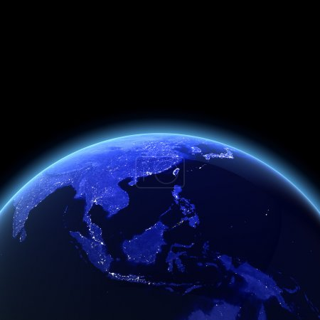 Photo for Southeast Asia 3d render. Maps from NASA imagery - Royalty Free Image