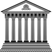 Greek temple stencil second variant vector illustration for design