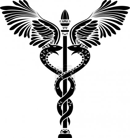 Illustration for Medical symbol caduceus stencil vector illustration for web - Royalty Free Image