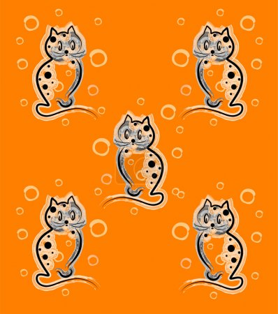 Seamless pattern with funny kittens on the orange background fo