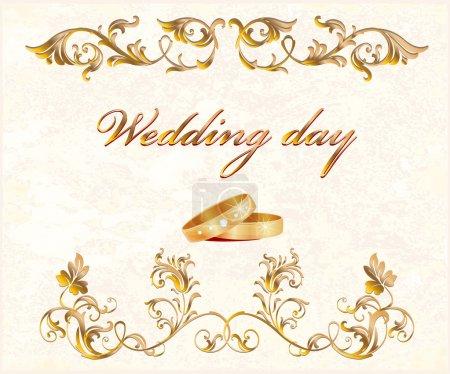 Photo pour Carte de mariage Vintage avec anneaux - image libre de droit