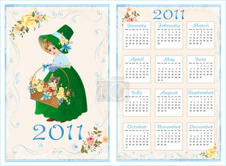 Vintage pocket calendar 2011 with girl and cat. 70 x105 mm