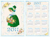 Vintage pocket calendar 2011 with girl and cat 70 x105 mm