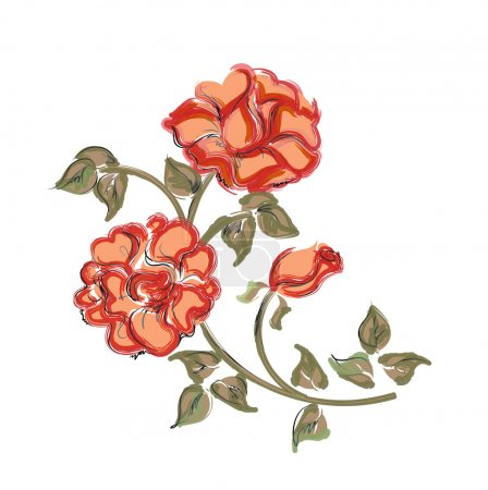 Hand drawn red roses