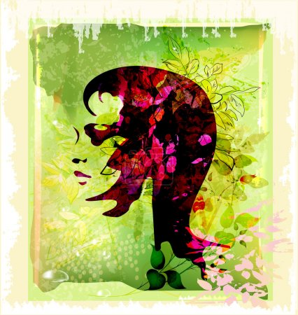 Silhouette of beautiful young woman on the floral background