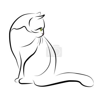 Illustration pour Illustration de contour du chat assis - image libre de droit