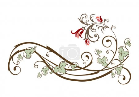 Vintage design element with flowers and ivy