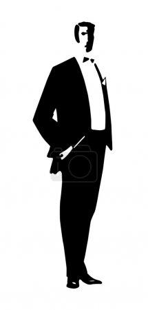 Silhouette men on white background