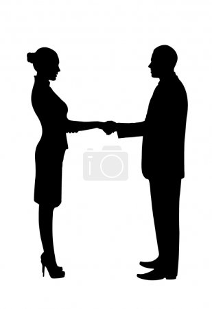 Silhouette. Greeting business men and women.