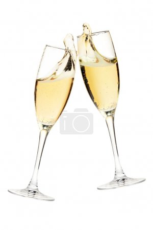Photo for Cheers! Two champagne glasses. Isolated on white - Royalty Free Image