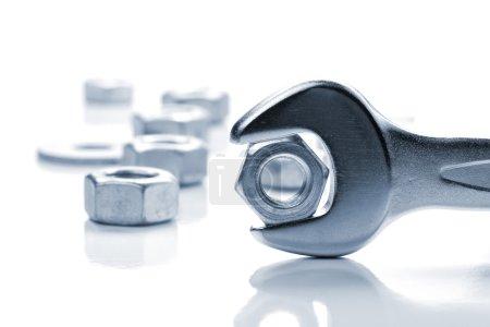 Metal nut in spanner