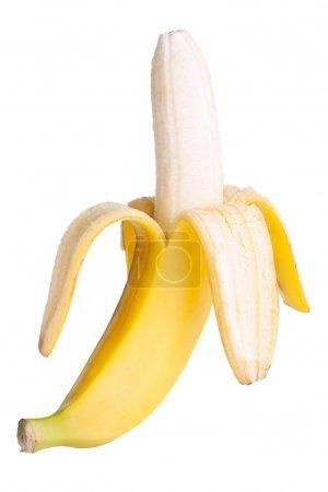 Foto de Abrir el plátano aislado sobre fondo blanco - Imagen libre de derechos