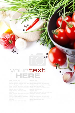 Photo for Fresh vegetables on white with sample text - Royalty Free Image
