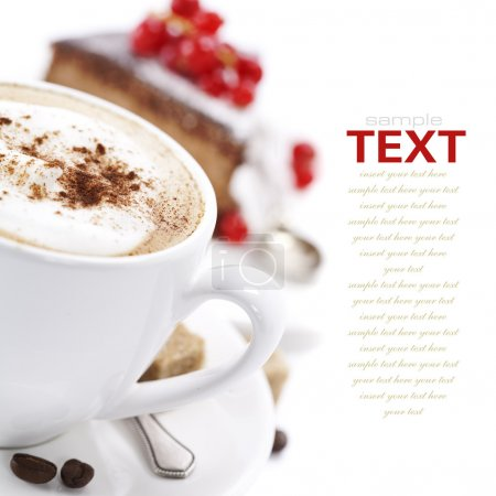 Foto de Close-up of white cup of coffee and chocolate cake (easy removable text) - Imagen libre de derechos