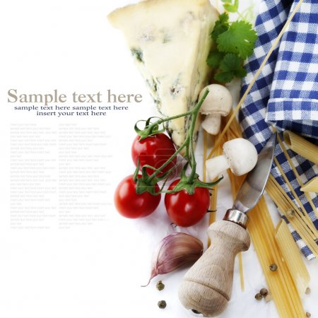 Composition of pasta, vegetables and cheese over w...