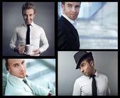 Portrait of confident businessman. Collage.