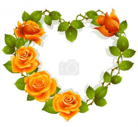 Illustration for Framework from orange roses in the shape of heart - Royalty Free Image
