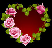 Framework from pink roses in the shape of heart