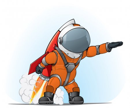 Illustration for Astronaut on the rocket on the blue beckground - Royalty Free Image
