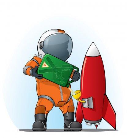 Illustration pour Illustration d'un astronaute remplissant la fusée sur fond blanc - image libre de droit