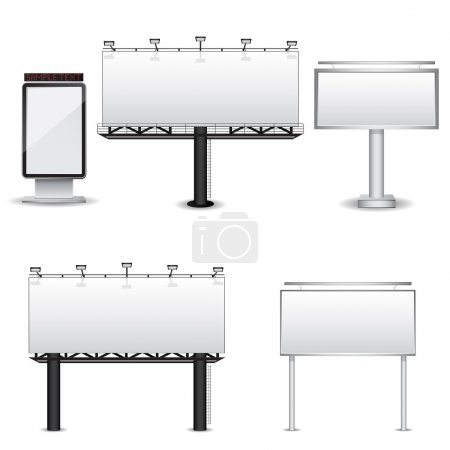 Set of different billboards isolated on white back...