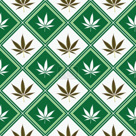 Illustration for Cannabis seamless texture, abstract pattern; vector art illustration - Royalty Free Image