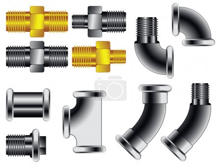 Illustration for Water pipe connectors against white background, abstract vector art illustration - Royalty Free Image
