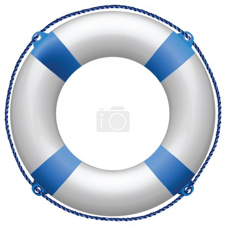 Life buoy blue against white background, abstract ...