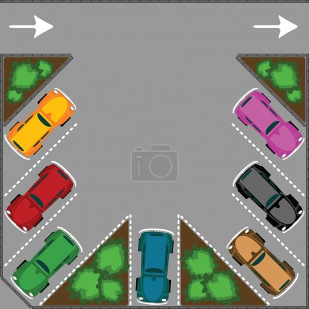 Illustration pour Parking pour voitures, illustration d'art vectoriel abstrait - image libre de droit