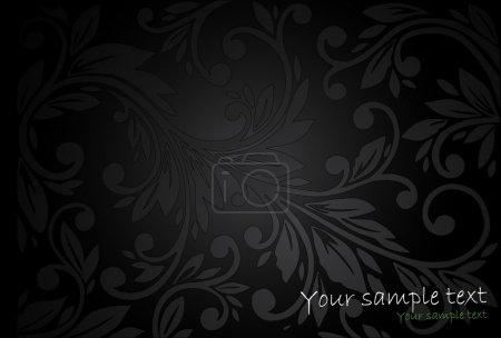 Vintage floral black background