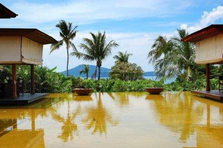 Photo for Lounge pool view area at luxury hotel, Phuket, Thailand - Royalty Free Image